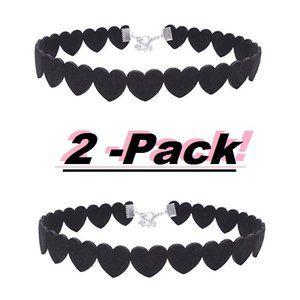 *NEW* 2-PACK Heart Leather Velvet Choker Necklace